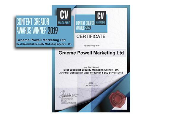 GPM wins 'Best Specialist Security Marketing Agency – UK' award
